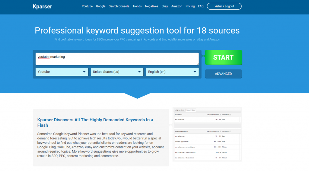 Kparser Youtube keyword research tool home