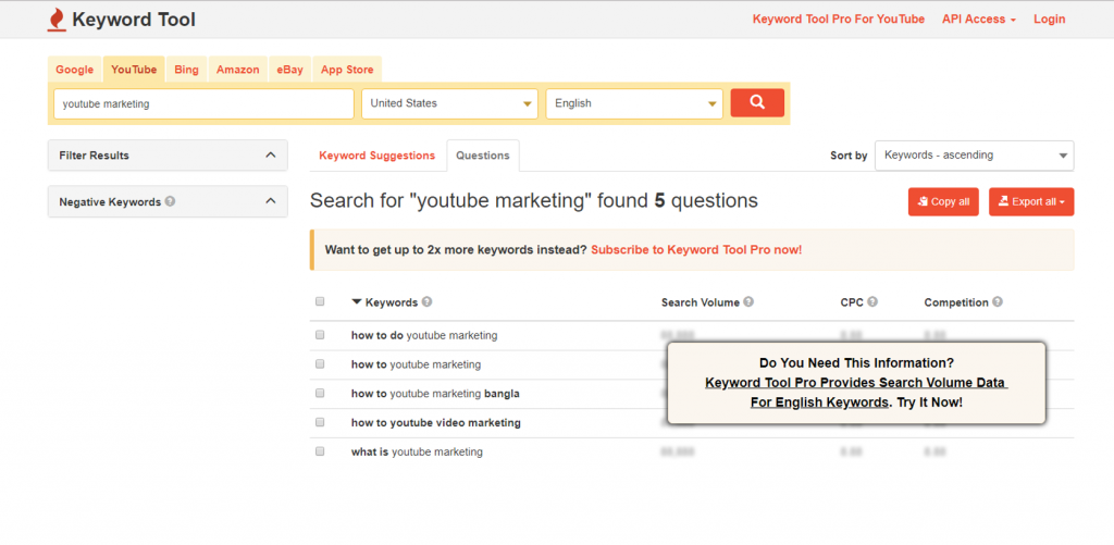 YouTube keyword research tool - Keywordtool.io